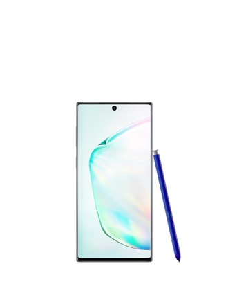Front-facing shot of an upright Galaxy Note10 with an S Pen leaning on the side of it
