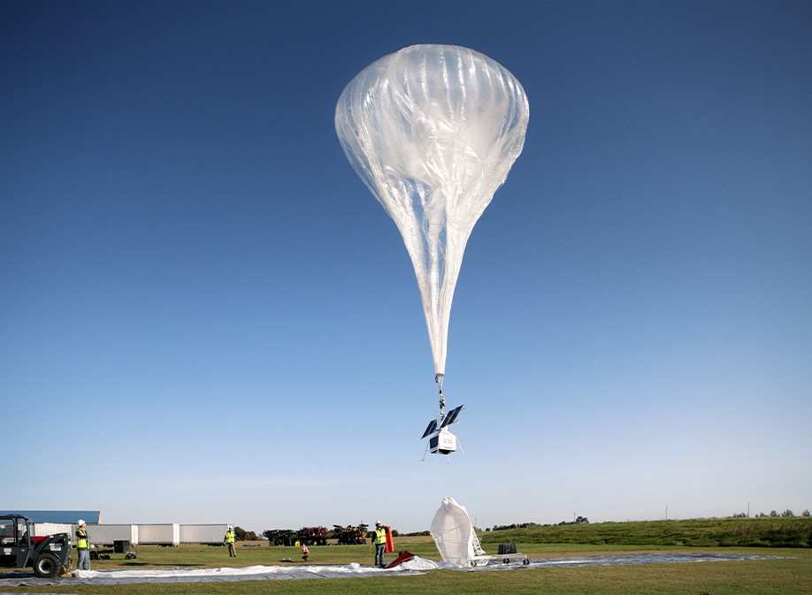 A high-altitude helium balloon which is being used to take the Galaxy S10 into space