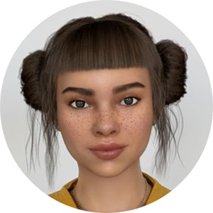 A straight-on head shot of Miquela Sousa
