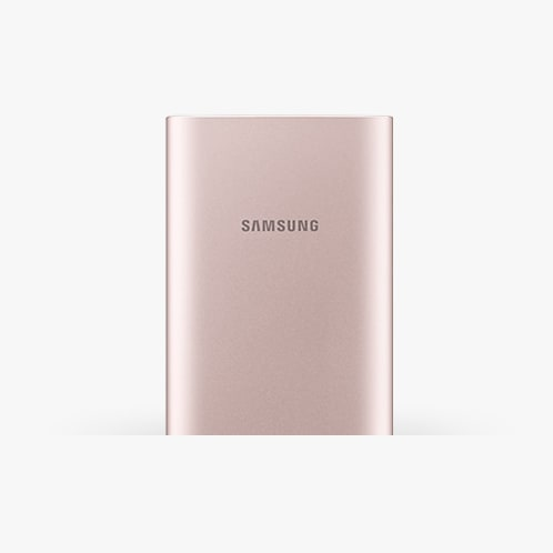 Front view of pink Samsung battery pack.