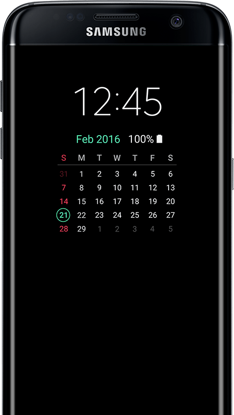 Tipo de calendario AOD en galaxy s7 edge screen