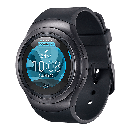 An image showing the Gear 2 with a digital watch face.