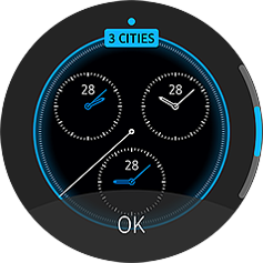 An image showing the Gear 2 with a world clock watch face.