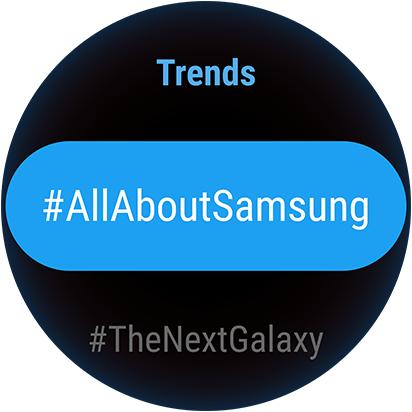 Benutzeroberfläche der Twitter Trends-App