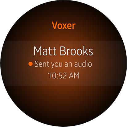 Interface graphique de l'application Voxer