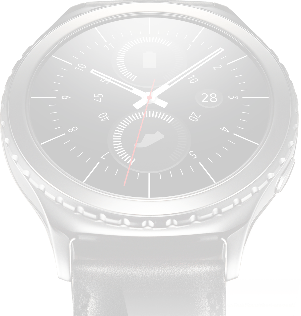 Dimmed image of blue black Gear S2 classic on left