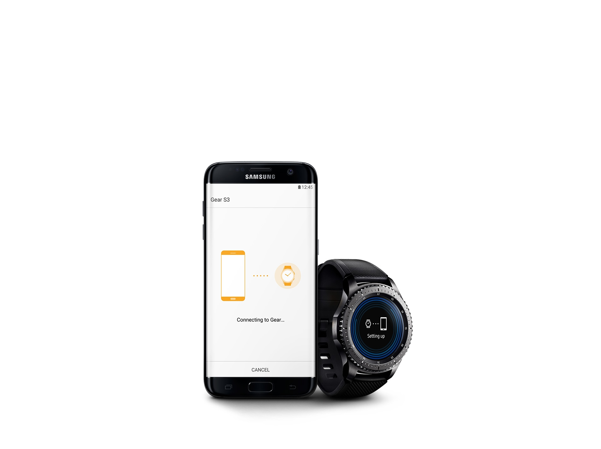 Galaxy S7 edge with Gear S3 in the process of setup