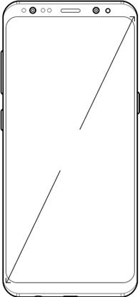 Ilustración de Galaxy S8 mostrando las dimensiones de la pantalla