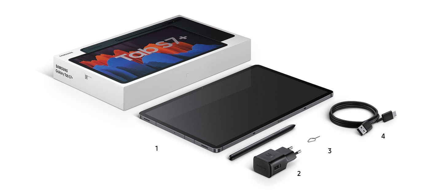 The Galaxy Tab S7 series is assembled with its associated parts - a box, a Galaxy Tab S7, a pen, a charger, a SIM card pin, a data cable, earbuds, and a pair of AKG headphones.