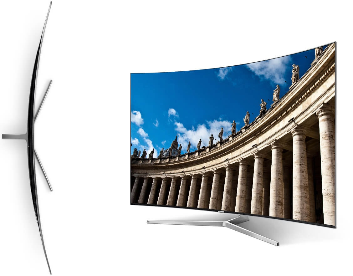 Top View Of Curved Samsung Tv And Perspective