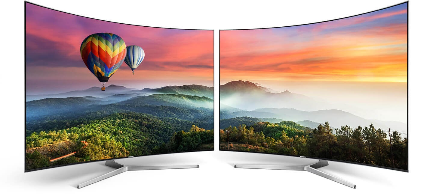 Samsung curved TV creates the most realistic and accurate colour of beautiful landscape.