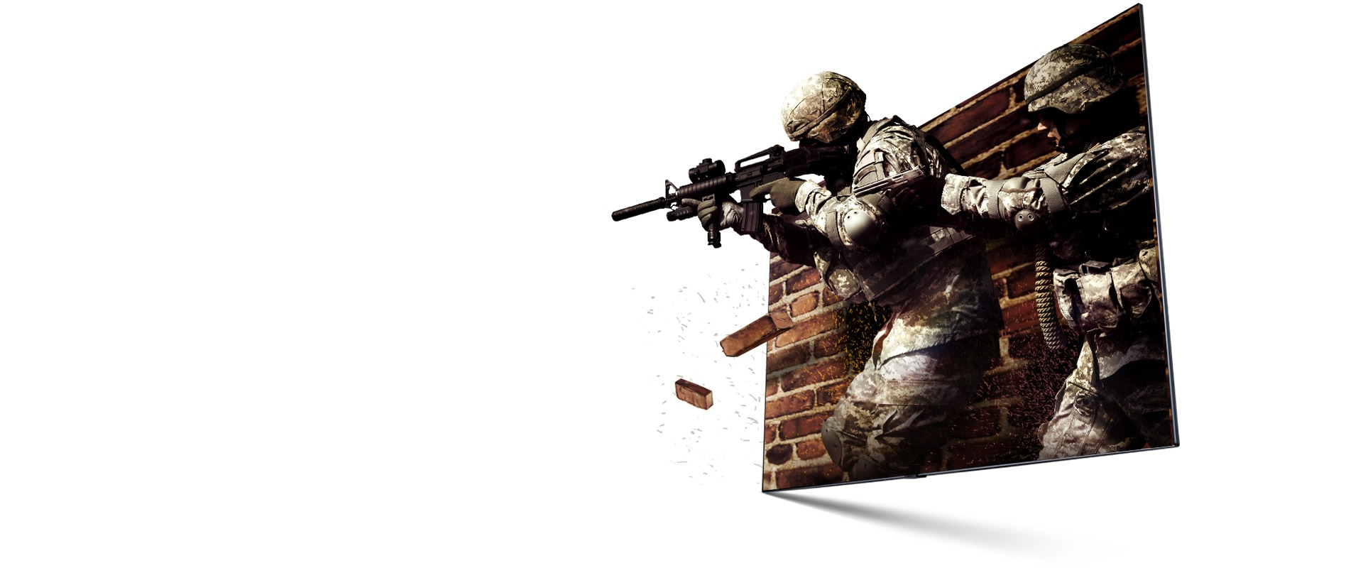 A scene from a FPS game. A solider is about to shooting gun to target. It looks real and dynamic.