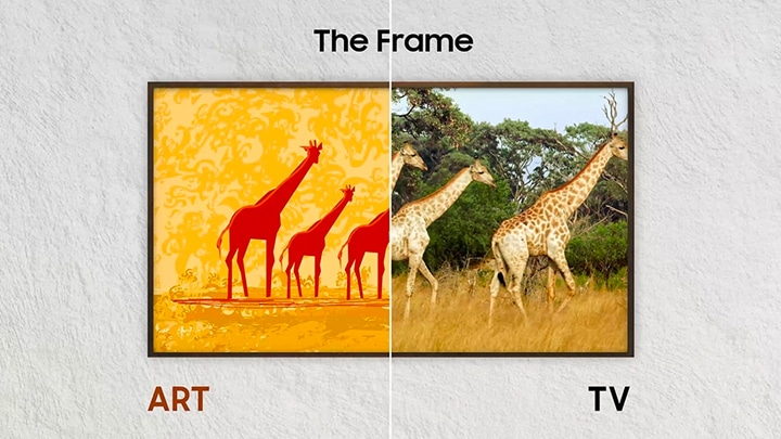 The Frame TV is hanging on the wall. A split-screen comparison shows an illustration of giraffes in Art Mode and a live video of giraffes in the wild in TV Mode.