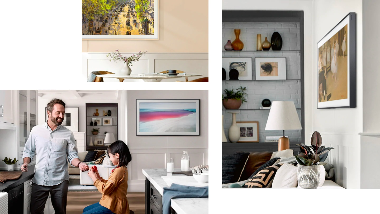 "Three Frame TVs showing art are on walls in different rooms. One shows  an idyllic painting of carriages. Another shows a painting called ""Great Salt Lake"" in a kitchen where a father and a girl are talking . The third shows a painting of ballerinas in a nicely decorated room."