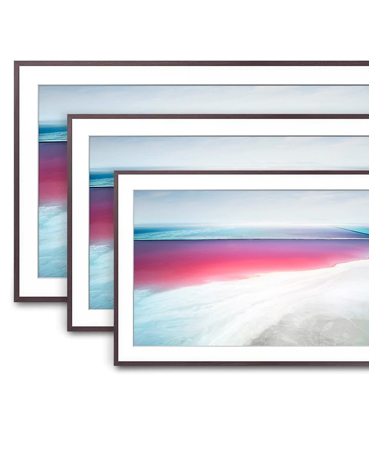 3 different sizes of The Frame TV are arranged to help compare the screen sizes.