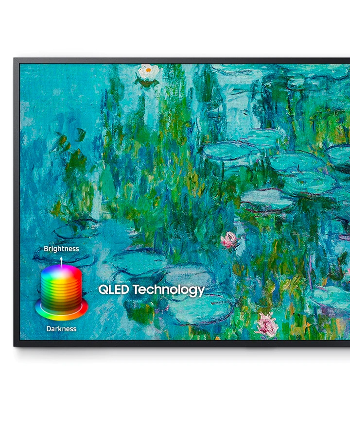A close-up a painting of a beautiful pond is shown, with QLED's high resolution picture quality revealing all the details of each image. On the image, there is a diagram that shows QLED Technology's brightness and darkness spectrum.