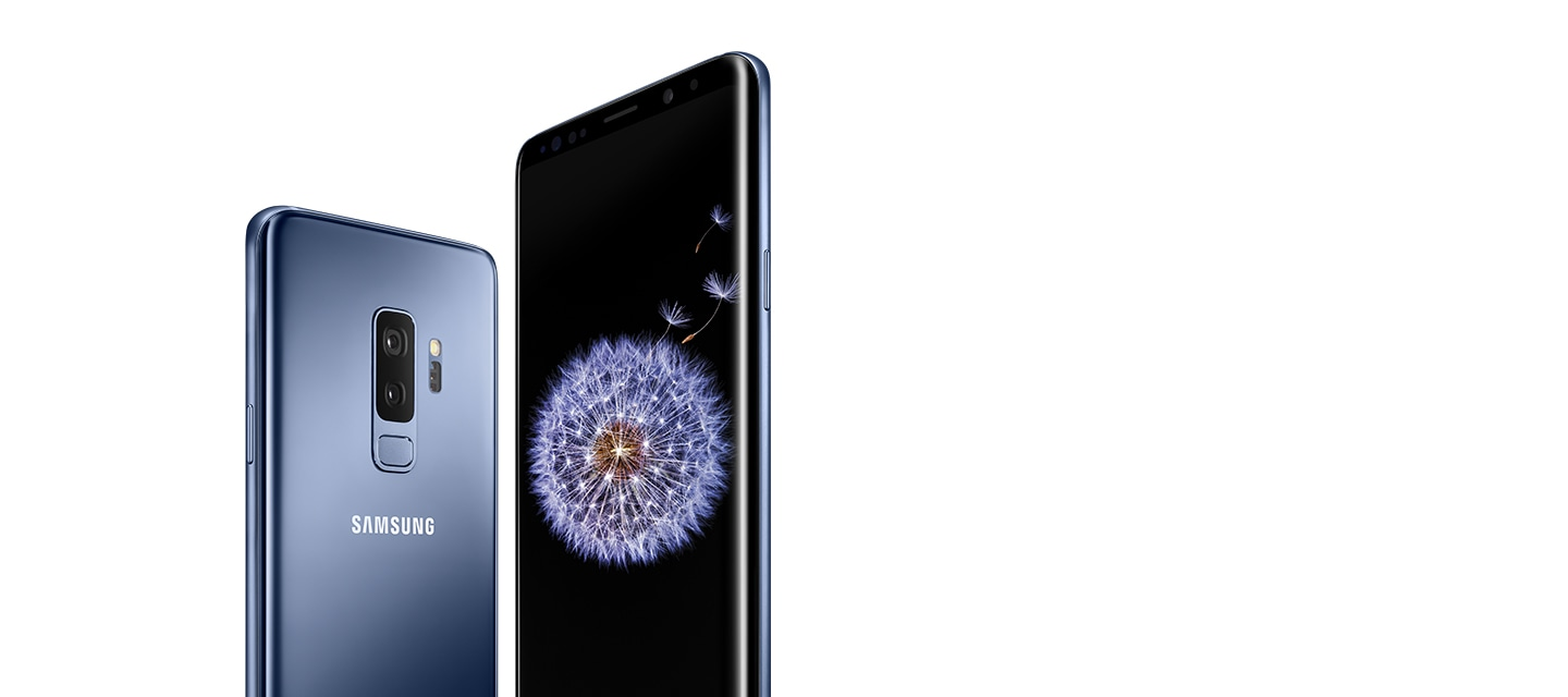 Galaxy S9+ seen from the rear and the front in coral blue, with a dandelion on-screen