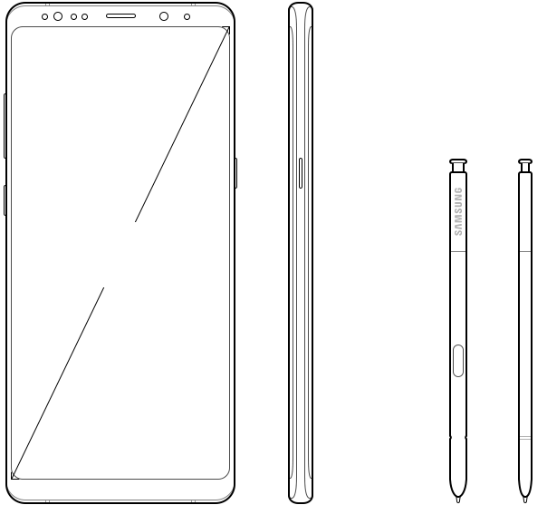 Illustrated images of front and side view for Galaxy Note8 and S pen