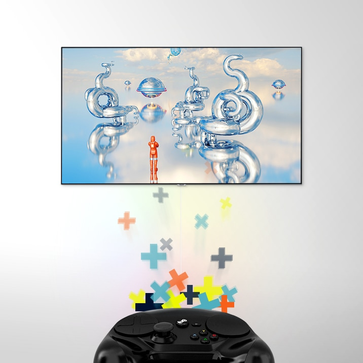 A video game controller shooting controller action symbols at a Samsung QLED TV mounted on the wall