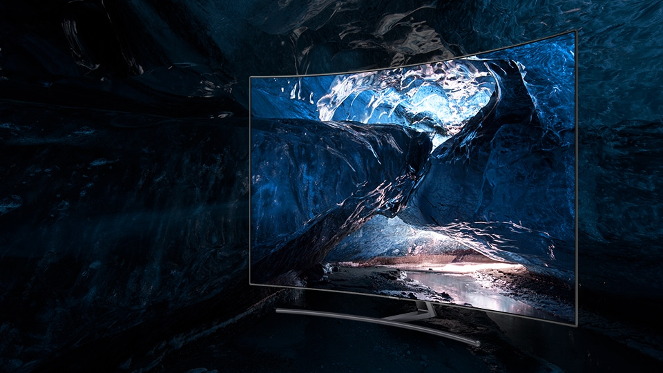 Samsung's QLED TV showing the sharp details of an image of an ice cave
