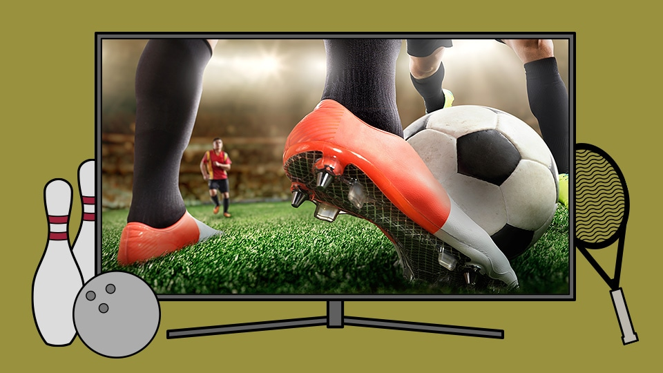 An illustration of Samsung's QLED TV showing a close look into the action of a soccer game