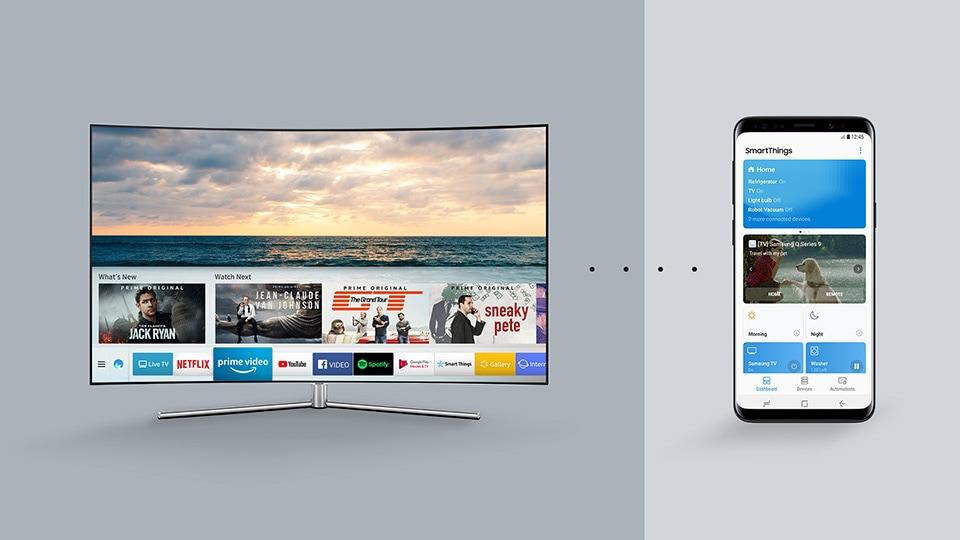 An infographic shows the SmartThings app controlling the QLED TV from a smartphone