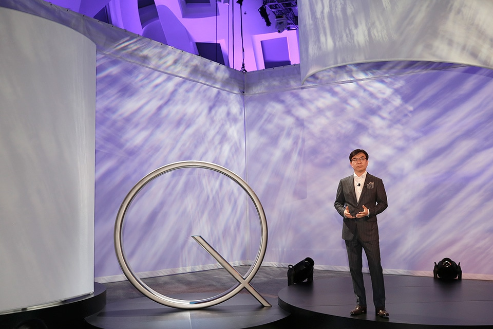 Hyun Suk Kim, President of the Visual Display Business at Samsung Electronics having his opening speech at CES 2017