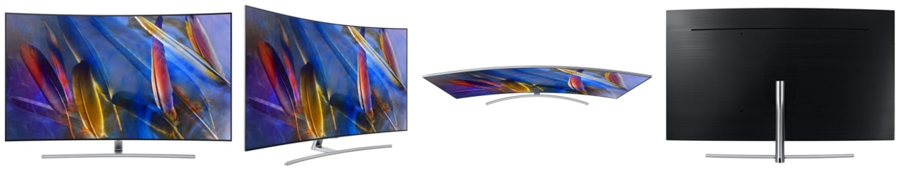 QLED TV product images from various angles