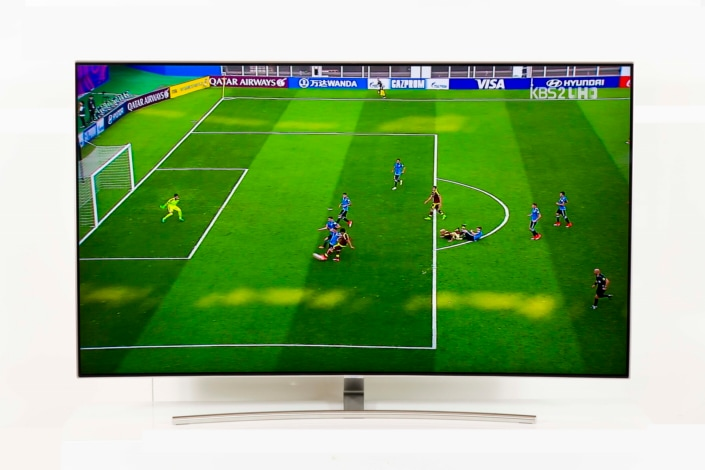 Soccer game played on QLED TV