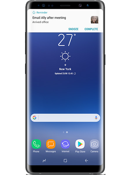 The Galaxy Note8 displaying a Reminder notification