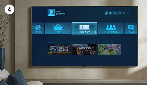 Learn how to set up and use Steam Link on Samsung Smart TV. Step number 4 is to access Library from Steam Link main page.