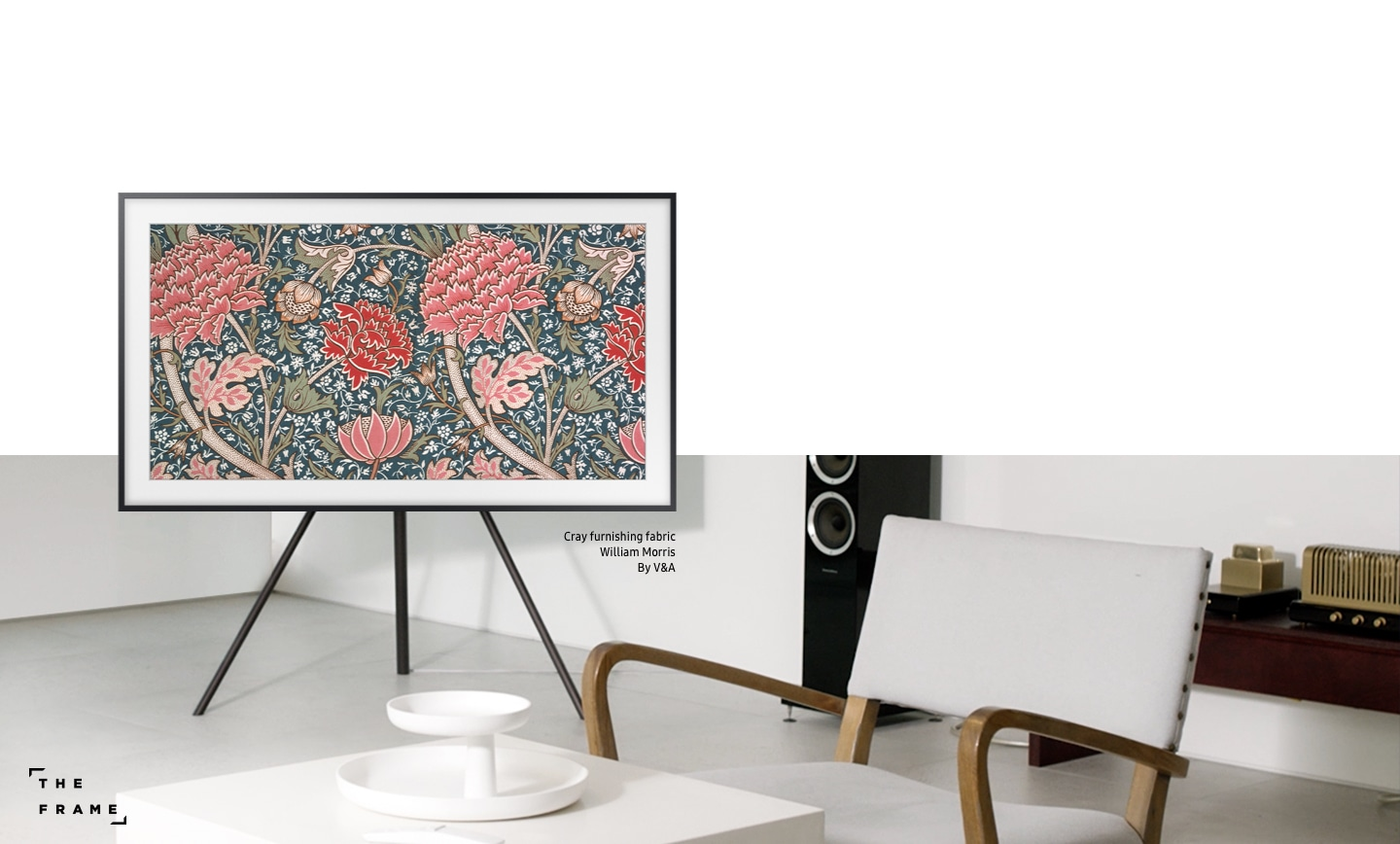 Samsung The frame tv is displaying art work of Cray furnishing fabric by William Morris, V&A. Frame tv makes every space more aesthetically, and can play a variety roles wherever it is placed.