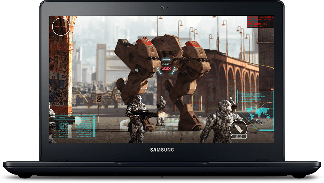 An image showing 3D gameplay on a black Samsung Notebook Odyssey device with game information