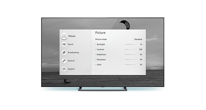 QLED TV front view Grayscale