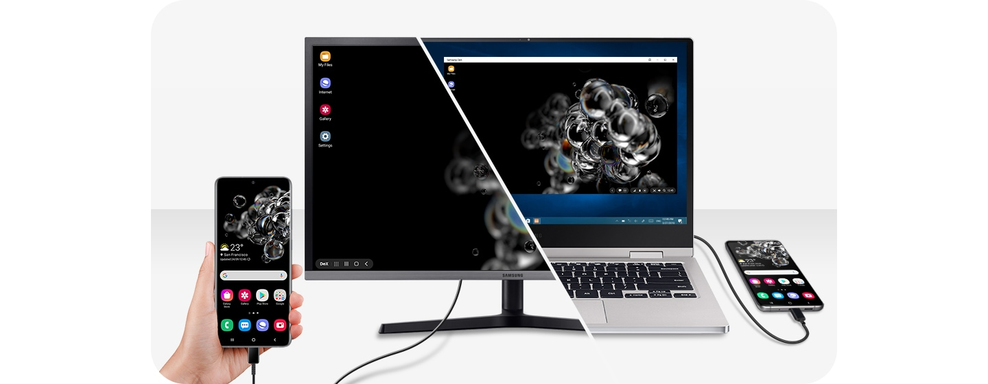 One half shows a monitor on a table connected to Galaxy S20 Ultra with Samsung DeX. The Galaxy S20 Ultra is displaying the home screen and on the monitor's screen is the Samsung DeX desktop. The other half of the image is a laptop connected to Galaxy S20 Ultra via Samsung DeX, with the home screen on the Infinity-O Display and the laptop display showing the Samsung DeX desktop