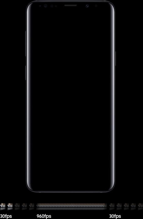 Galaxy S9 or S9+ seen from the front