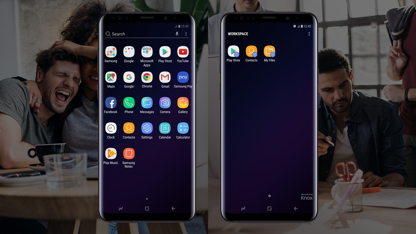 Two Galaxy S9 or S9+ phones side by side, one displaying the apps screen and the other displaying the Knox Workspace apps screen