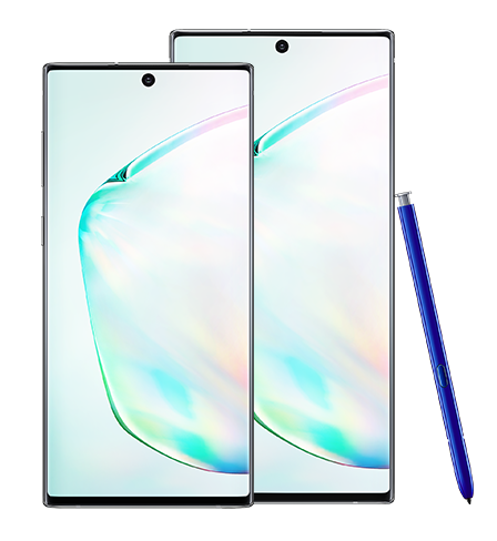 Galaxy Note10 and Galaxy Note10 plus in Aura Glow seen from the front with a blue S Pen leaning against Galaxy Note10 plus. Both phones have an abstract graphic onscreen.