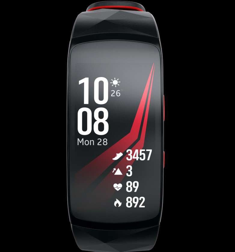Click and drag to see red Gear Fit2 Pro in 360º
