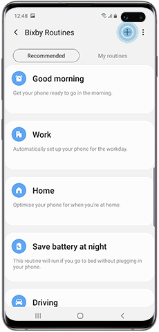 Create a custom Bixby Routine, Plus-icon