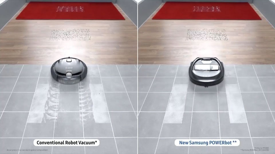 The 'Multi-surface cleaning' image, comparing a POWERbot VR7010 device with a conventional vacuum cleaner, and showing the device operating on tiles, hardwood and carpet, as well as its big brush and its powerful suction power.
