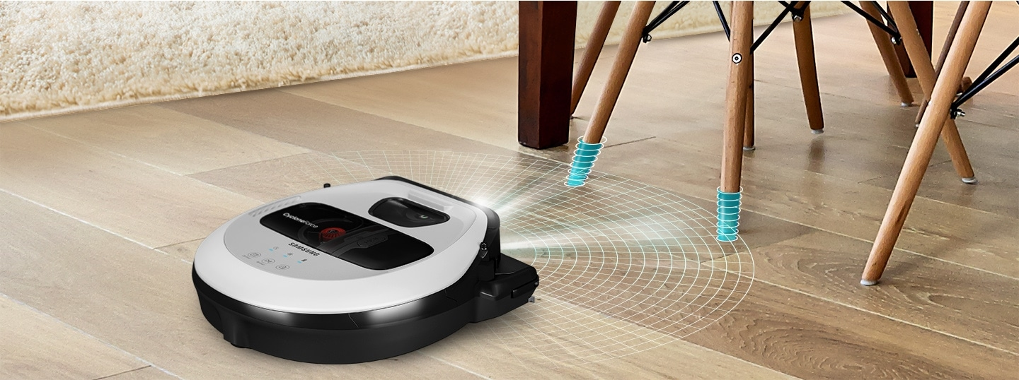 An image showing a POWERbot VR7010 device detecting thin table legs in a living room with its FullView Sensor™ 2.0 function.