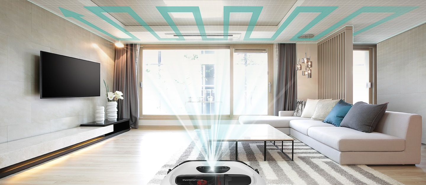 An image showing an entire living room and a POWERbot VR7010 device set in the middle. Its sensor scans the ceiling and creates a cleaning path.