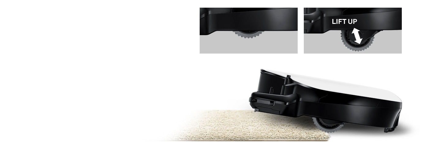 An image of a POWERbot VR7010 device lifting up a carpet using its Easy Pass™ feature. Above it, two magnified images of its wheels are visible, with one in regular mode and the other in lift-up mode.