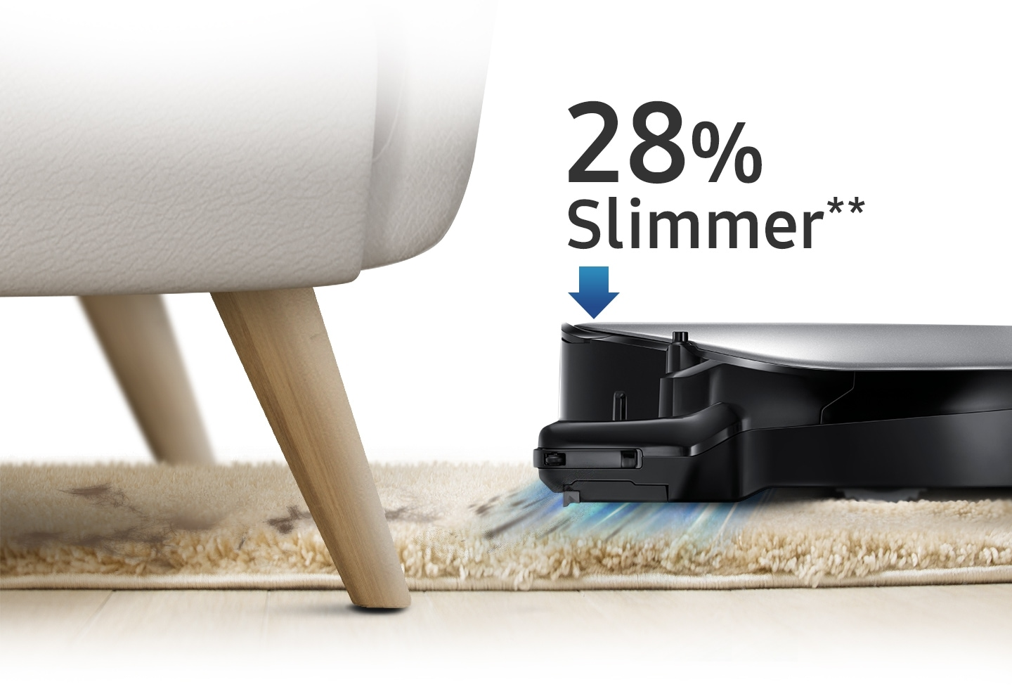 An image showing a POWERbot VR7000 device vacuuming a carpet and cleaning under a sofa, as well as an arrow icon and text that reads '28% slimmer.'