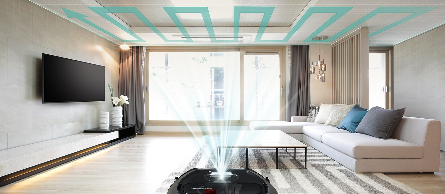 An image showing an entire living room and a POWERbot VR7000 device set in the middle. Its sensor scans the ceiling and creates a cleaning path.