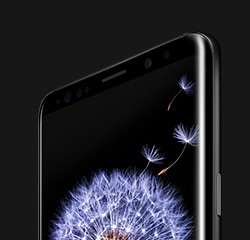 Galaxy S9 or S9+ with a dandelion on-screen