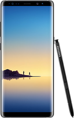 Front view of Galaxy Note8 in Midnight Black