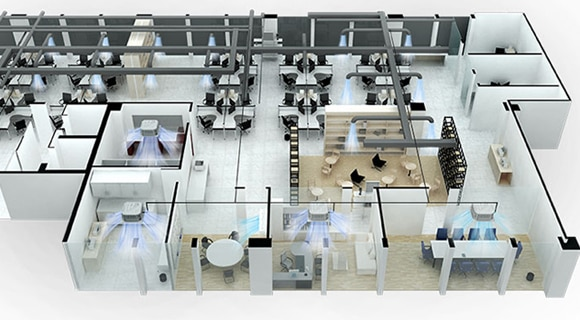 An office floor plan with system air conditioner placed in each and every room