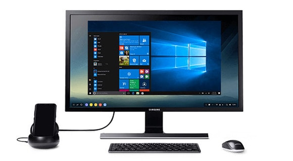A Samsung Galaxy S8 connected to a monitor using Samsung Dex
